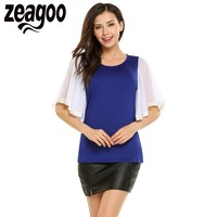 Zeagoo Women Fashion O Neck Mesh Patchwork Flare Short Sleeve Solid T Shirt 2017 Summer Pullover