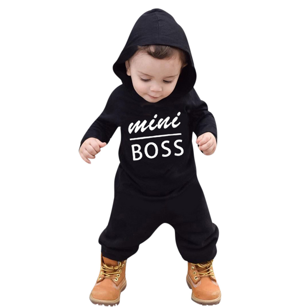 b7c7d1be2651 Letter print hoodies Fashion Newborn Toddler Infant Baby Boys Romper ...