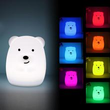 Mini Bear LED Night Light 9 Colors Cartoon Silicone Animal Night Lamp Bedroom Bedside Lamp for Children Kids Baby Nursery Gift beiaidi big rabbit bear dimmable led night light cartoon bedroom desk table lamp for baby children kids birthday christmas gift