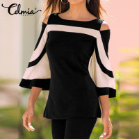 Women Casual Blusas Tops 2018 Spring Ladies Sexy Flare Sleeve Shirts Cold Shoulder Pullover Casual Loose