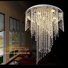 лучшая цена Free shipping 2015 Modern spiral design flush mount K9 crystal ceiling chandeliers light fixtures Dia50*H55cm led bulbs 220v