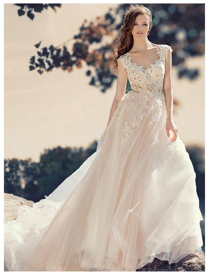SoDigne Ivory  Informal Wedding Dress 2019 Lace Appliques  Romantic Beach Bridal Gown Lace Top Vestidos De Novia Wedding Gowns
