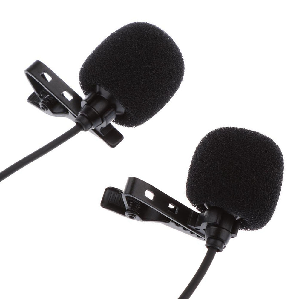 mini lavalier lapel microphone dual headed recording clip on mic for iphone ipad samsung tablet. Black Bedroom Furniture Sets. Home Design Ideas