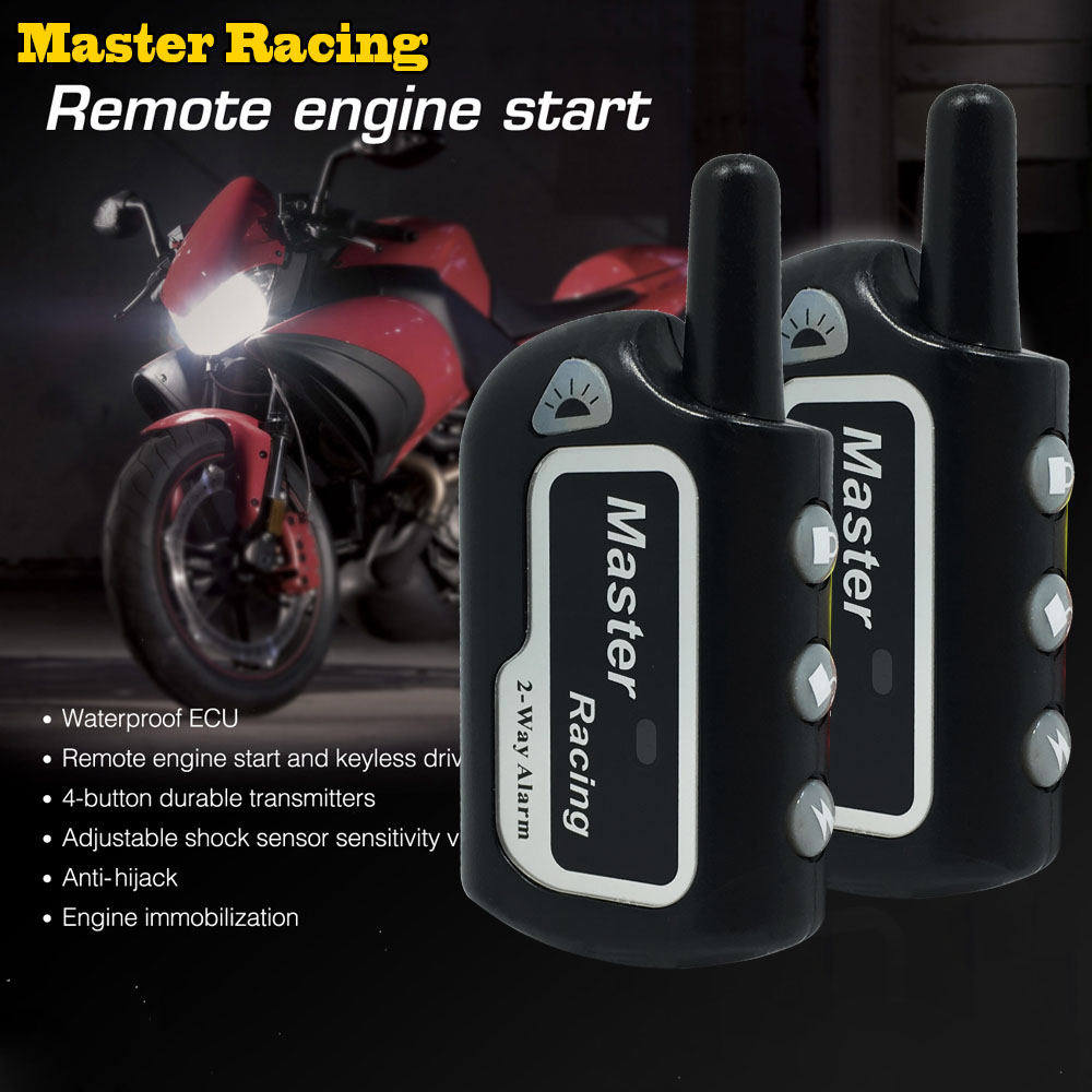 Master Racing 2 Two Alarm Motorcycle Alarm System Moto Scooter Theft Protection Motor Security Alarm Remote Control Engine Start carchet motorcycle anti theft security alarm system burglar alarm remote control security engine antifurto moto sirena