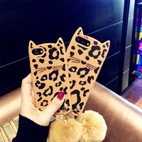 Soft Sexy Leopard Phone Case FOR IPHONE 7 Silicone Cartoon Cat Phone Cover For IPhone 7