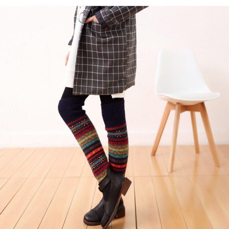 WEIXINBUY Women Winter Elegant Over Knee Long  Knit cover Patchwork Colorful Ladies Crochet Vintage Leg Warmers Legging Chic HTB18Hv2gv6H8KJjy0Fjq6yXepXaC
