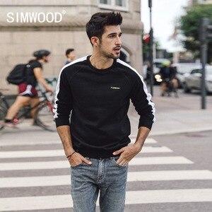 SIMWOOD 2019 الربيع الشتاء جديد كنزة قطيفة الرجال ركض بلوزات راجلان التطريز القطن الشارع الشهير هوديس 180359