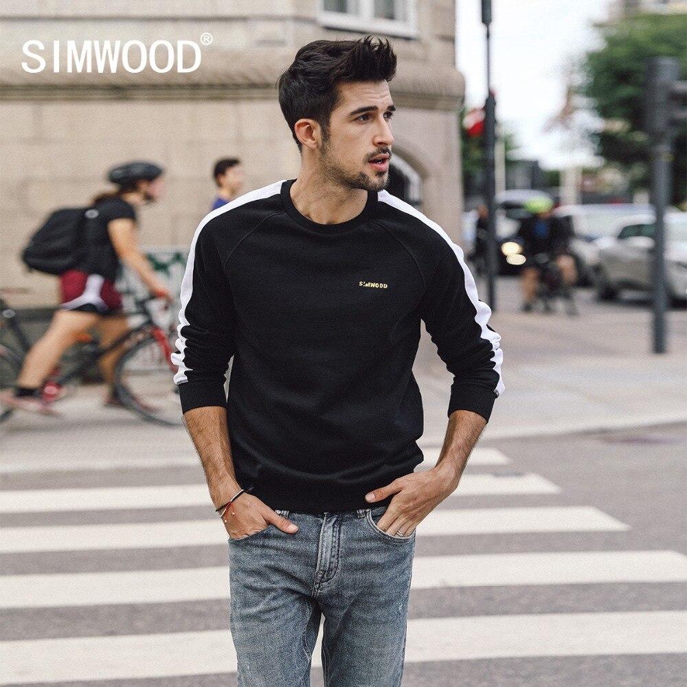 SIMWOOD 2019 Autumn Winter New Pullover Hoodie Men Joggers Sweatshirts Raglan Embroidery Cotton Streetwear Hoodies 180359