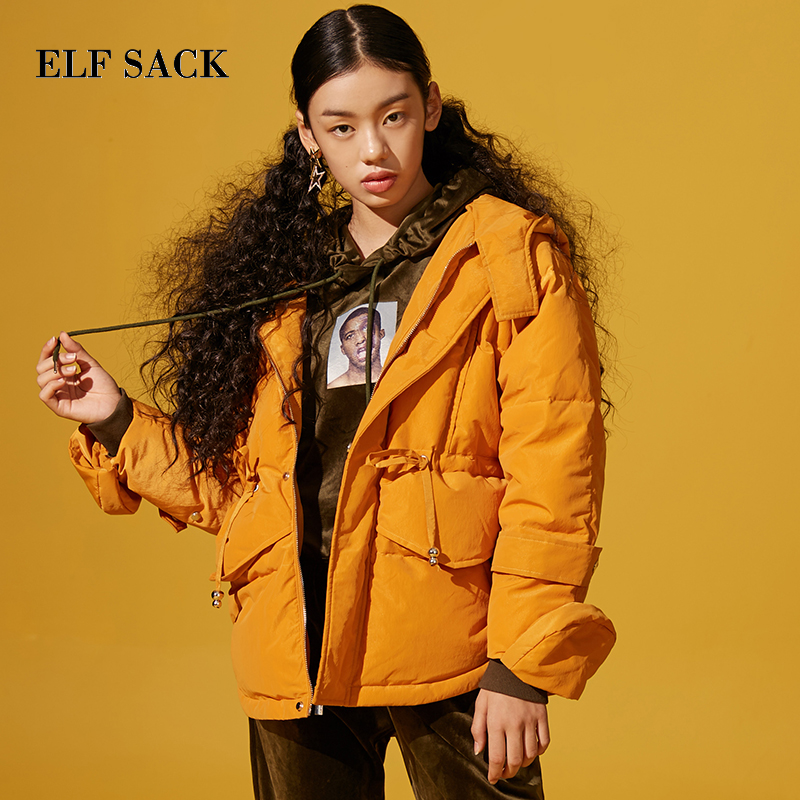 Elf sack 새 여자 다운 코트 90% 화이트 오리 한국 스타일 스타일 솔리드 femme 두꺼운 코트 지퍼 겨울 착용 재킷 코트-에서다운 코트부터 여성 의류 의  그룹 2