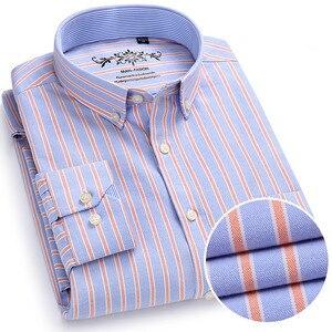 Image 1 - Chemise à manches longues pour homme, de marque, en coton, tenue formelle, Slim, rayée, collection 2018, collection nouveauté