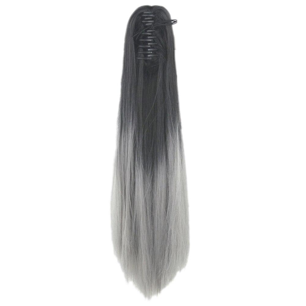 Soowee Gerade Synthetische Haar Clip In Haarverlängerung Schwarz Graue Klaue Pferdeschwanz Haarteile Little Pony Schwanz Headwear Farben Sind AuffäLlig Haarverlängerung Und Perücken
