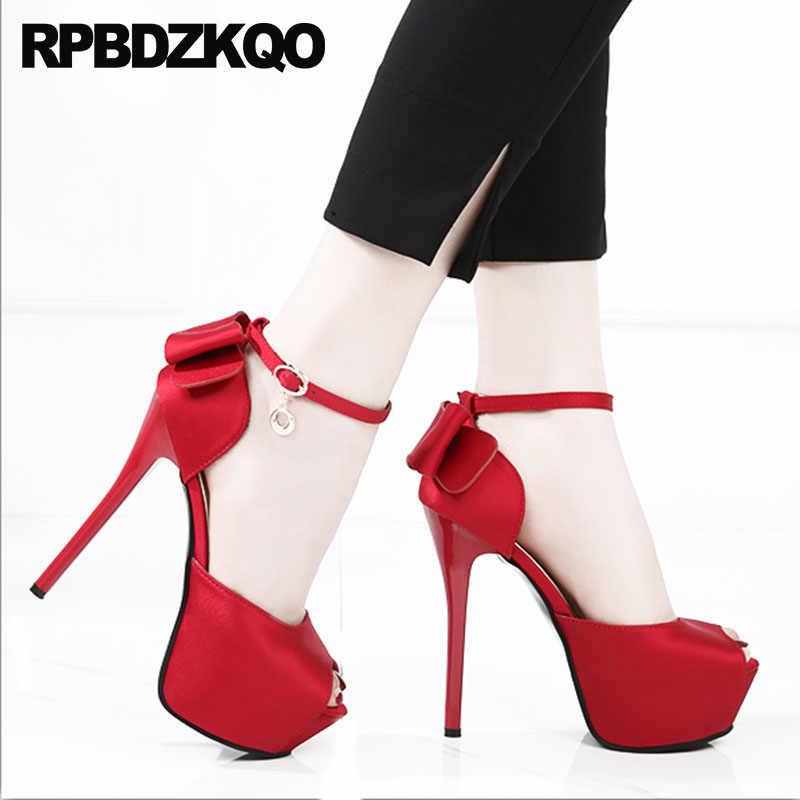 c514a0cc8ae ... Pumps Stiletto Cute Embellished Bow Shoes Bowtie Women Wedge Platform  Sandals Bridal Peep Toe Kawaii Ankle ...
