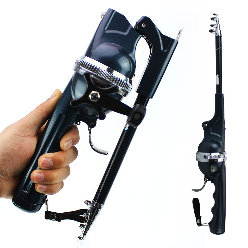 1Set/Bag portable folding fishing rod telescopic stainless steel poles with reel line travel folding mini rod for fish
