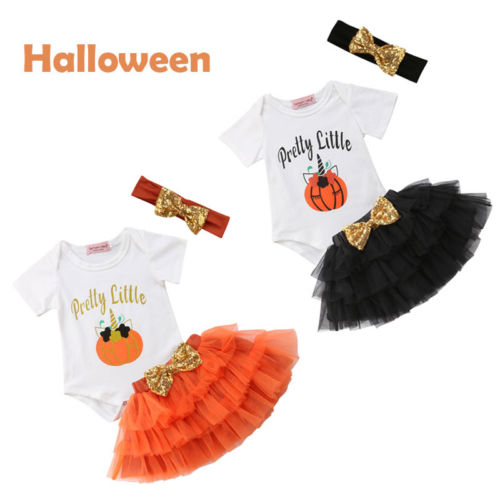 285232422af8 Newborn Infant Baby Girls Outfit Clothes Halloween Tops Romper+Tutu Skirt+Headband  Set-in Clothing Sets from Mother   Kids on Aliexpress.com