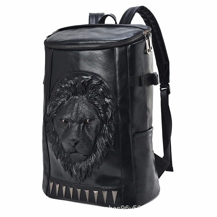 3d Embossed Lion Head Bucket Soft Backpack With Stunning Spikes Cool Leather Travel School Bagpack Punk Rock Concert Bags #5