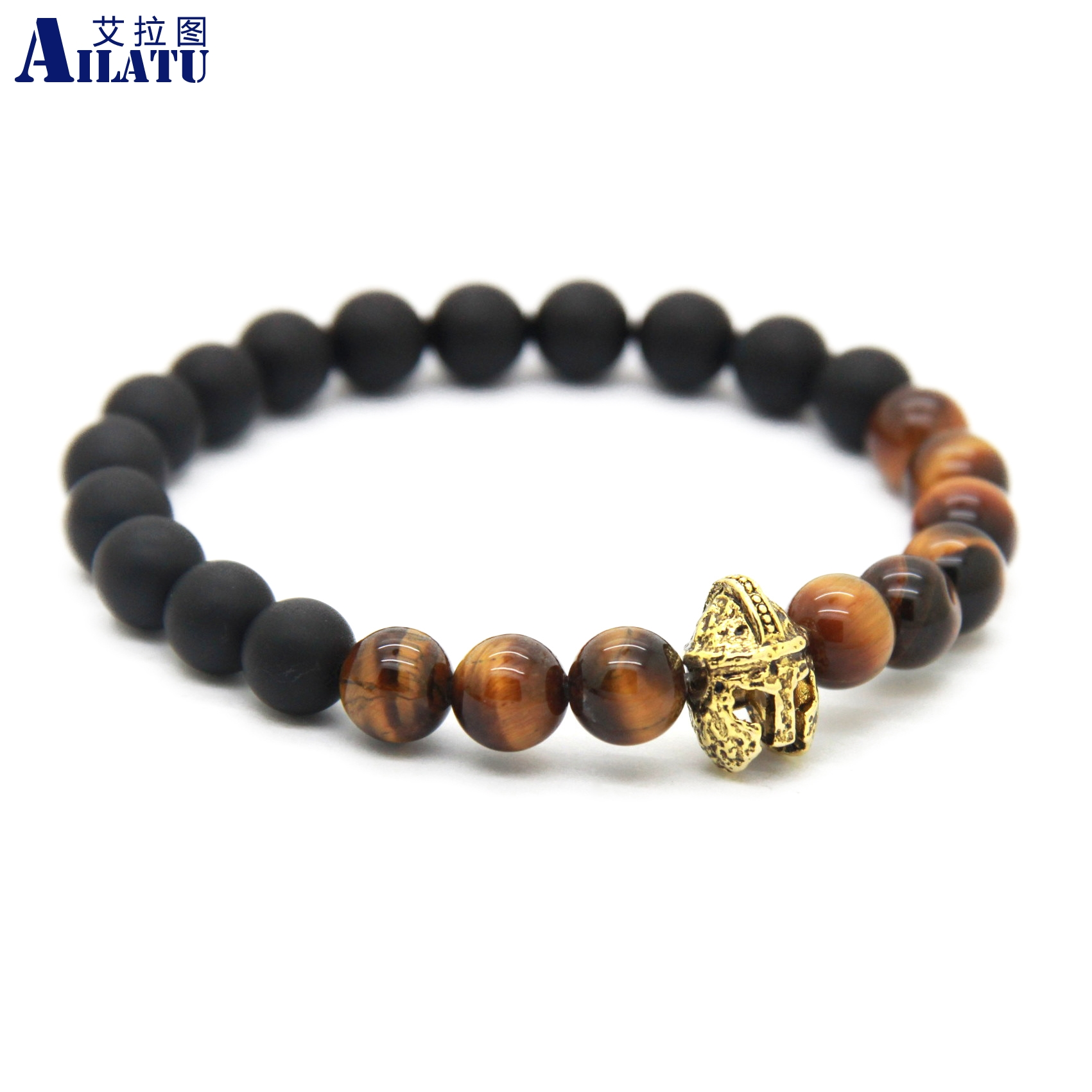 Ailatu Guardian of the City Mens Jewelry 8mm Pulseras Hombre Natural Tiger Eye Stone Beads Roman Helmet Bracelet