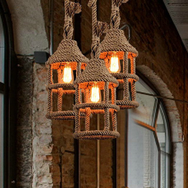 Wicker Loft Iron Rope Droplight Edison Industrial Vintage Pendant Light Fixtures For Dining Room Bar Hanging