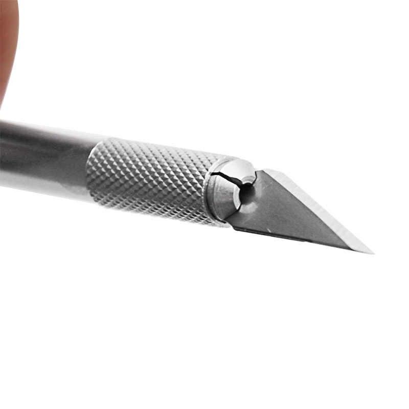 Antideslizante Metal bisturí utensilios con cuchillas Kit cortador cuchillos de grabado artesanal + 5 uds cuchillas teléfono móvil PCB DIY herramientas manuales de reparación