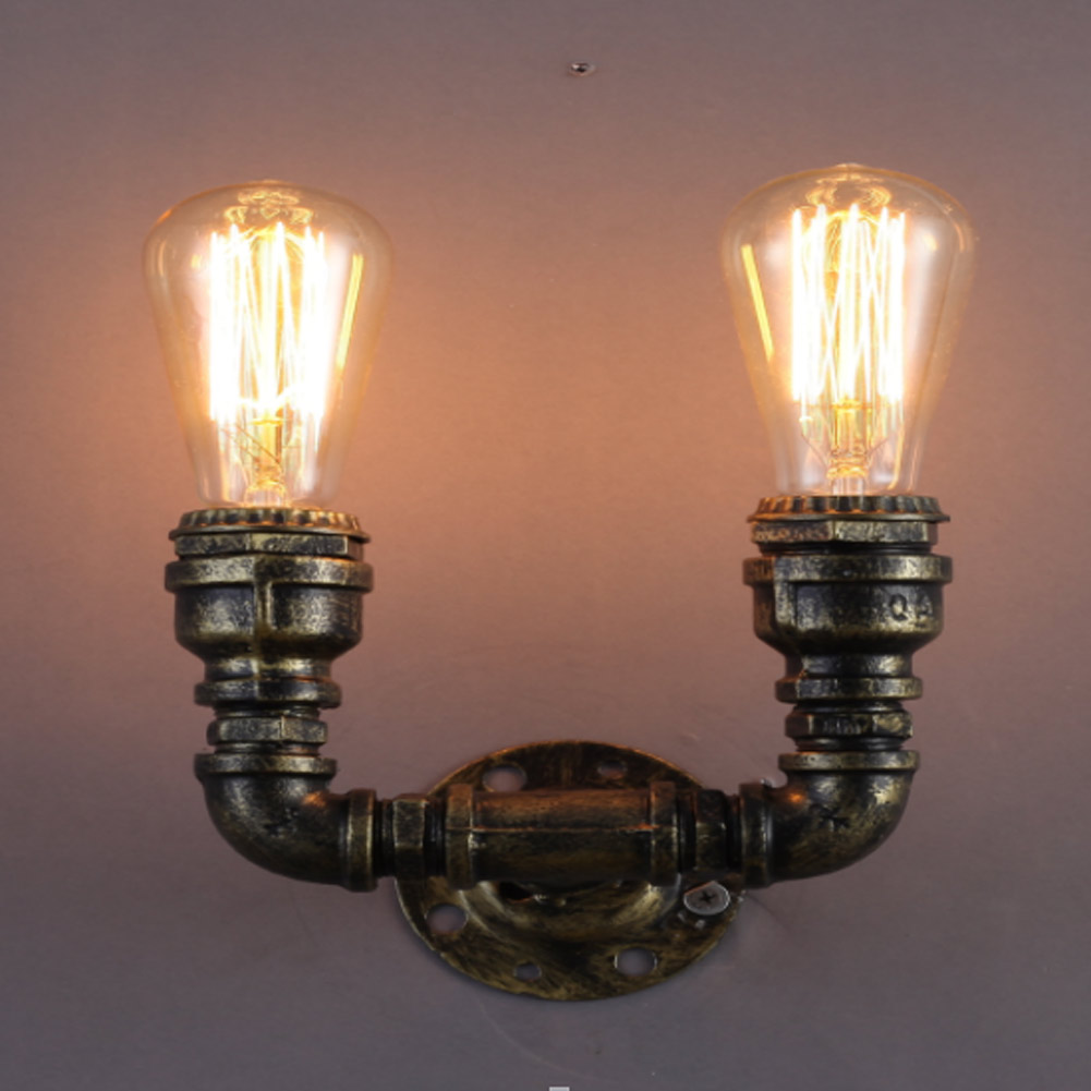 Creative industrial lamps - 2 Head Retro Copper Iron Industrial Water Pipe Vintage Loft Wall Lamp Sconce Creative Beside Lamps