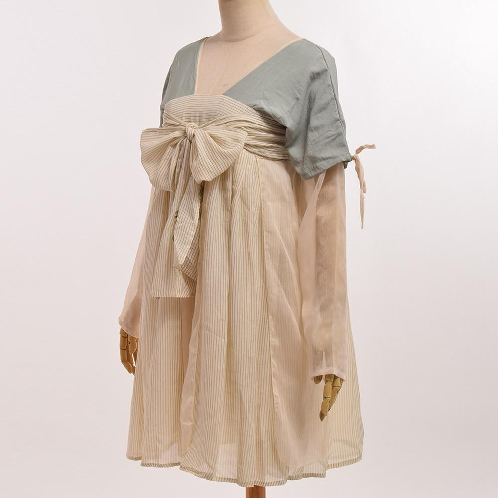 einteiliges Ruqun Kleid Chinesische Stil M dchen langermel Vintage doeWCrxB