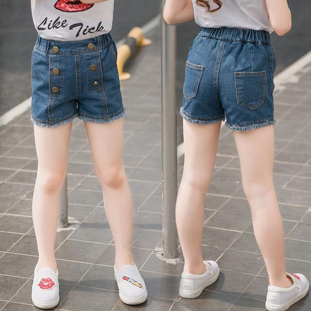 b63a9468 Summer Girls Denim Shorts High Quality Girl Jeans Pants Kids Fashion Shorts  High Waist Diesel Clothing Children's Shorts Elastic