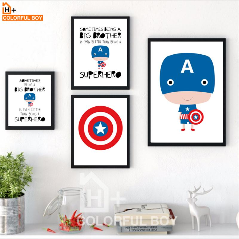 COLORFULBOY Superhero Captain America Boy Canvas Painting Nordic Poster Kids Room Decor Wall Art  Canvas Prints Wall Pictures