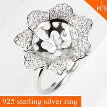 LGSY nice women jewelry Blooming Flower adjustable ring accessories in 925 sterling silver for wedding party