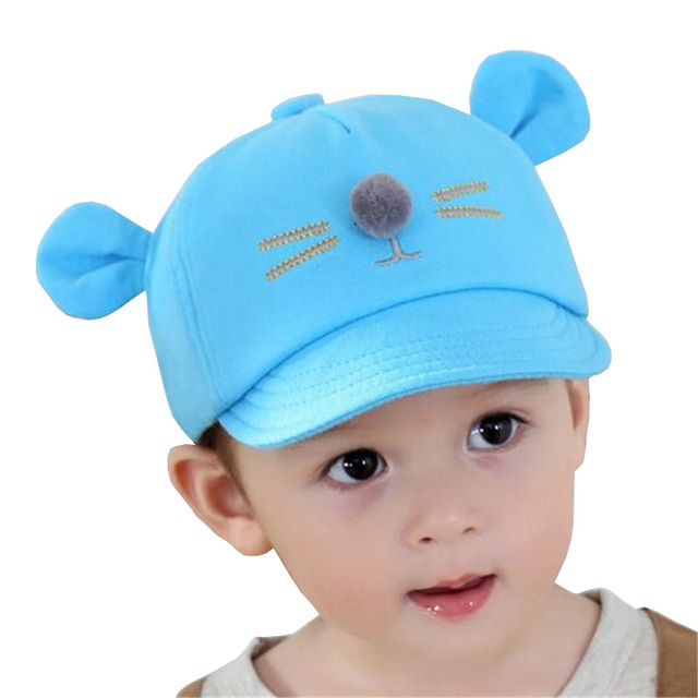 3af340637cd0 2017 New Baby Hat with Ears Cute Kids Baseball Hat Baby Boy Beanies ...