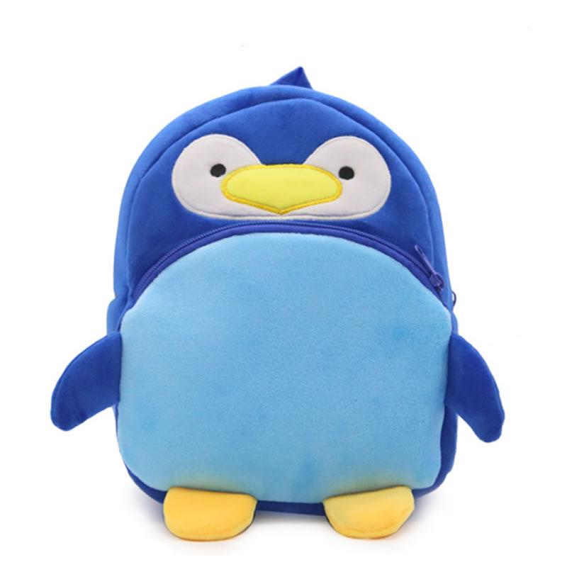 New Arrival Plush Cartoon Satchel Kids Blue Penguin Backpack Animal School Bag Children Shoulder Bag for Kindergarten Girls Boys