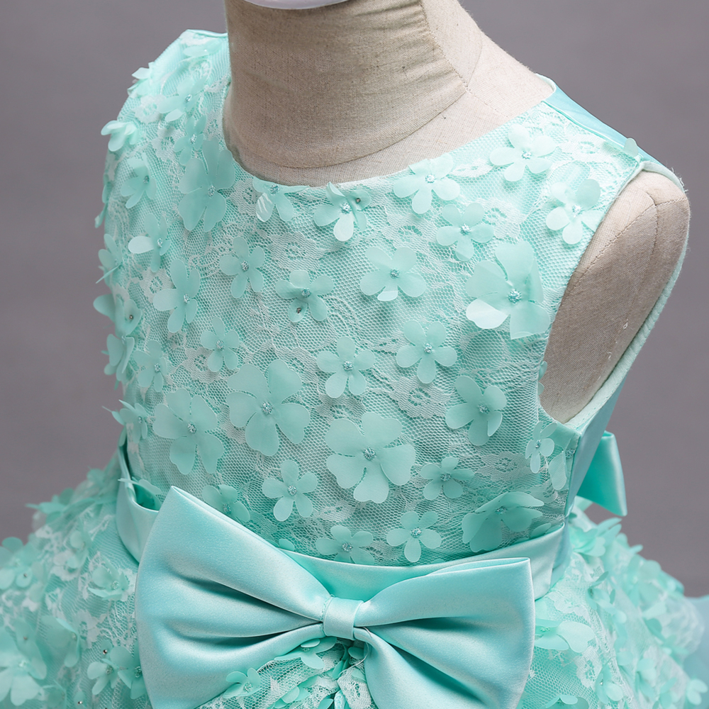 Beautiful Mint Green Flower Girl Dresses 2020 Lace Flower Bow Kids Evening Gowns Ball Gown Pageant Dresses For Girls Glitz