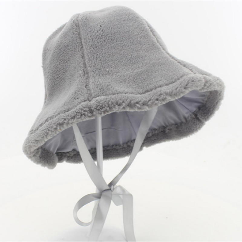 Fleece Winter Bucket Hat With String Solid Thickened Warm Fishing Hat Women  Girl Fisherman Cap Female Winter Sun Panama-in Bucket Hats from Apparel ... 8a20cc4b9df