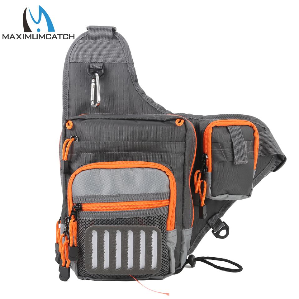 Maximumcatch 23*21*8.5 cm Freshwater Fishing Lure Tackle Bag Pack BackPack Crossbody Sling Bag maximumcatch fishing sling back pack outdoorsport fly fishing sling bag with fly patch