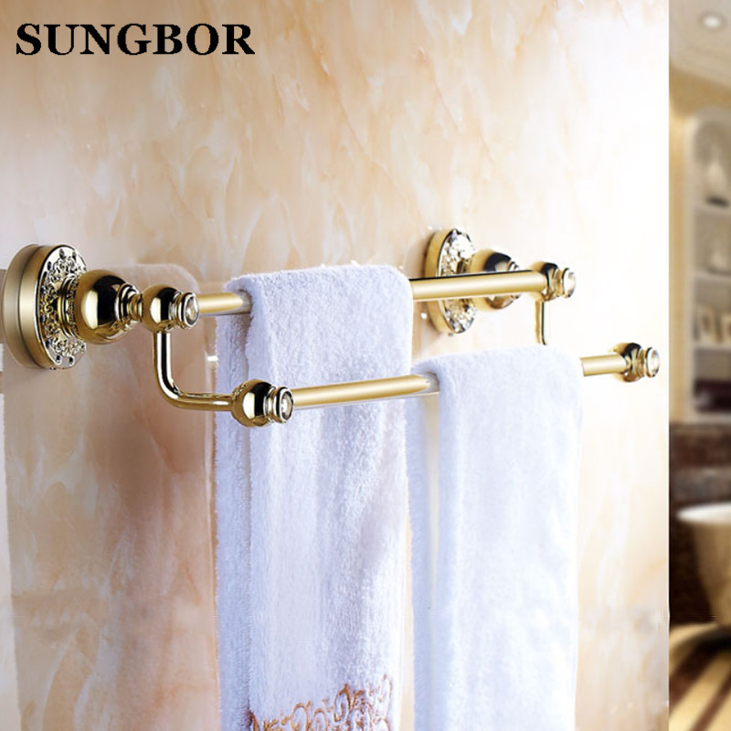 Bathroom accessories golden brass 60cm Double towel bars bathroom towel rack wall mounted antique bathroom towel bars shelf bathroom shelves orb finish wall shelf in the bathroom brass towel holder towel tack bathroom accessories towel bars 5512