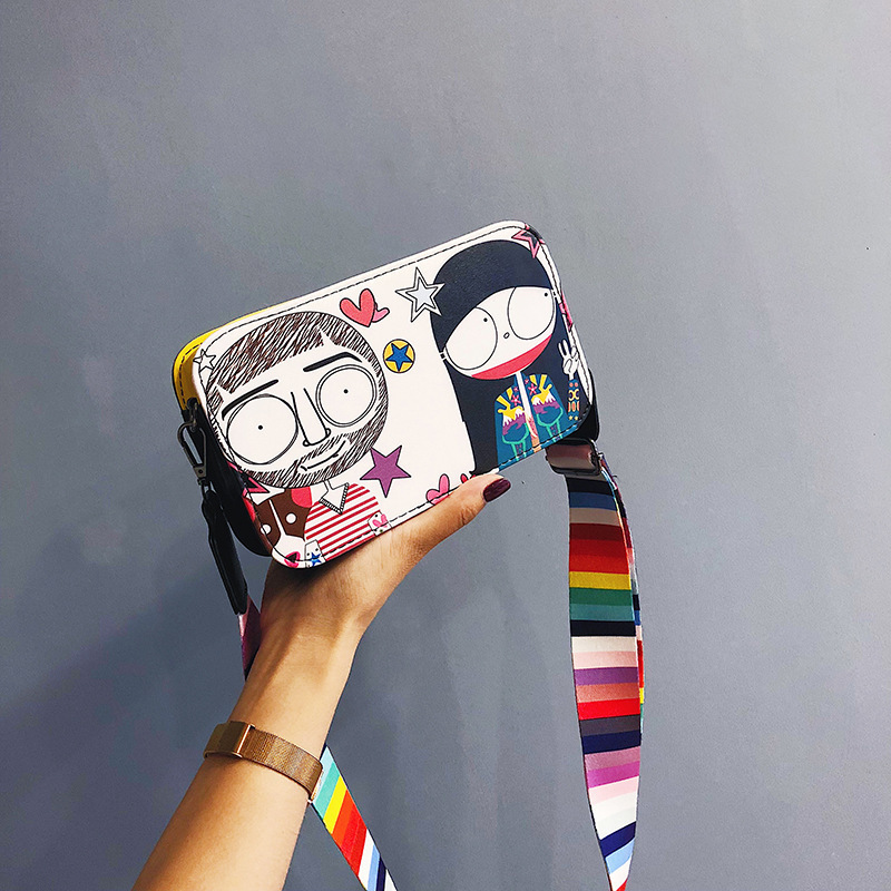 Phone-Bag Crossbody-Bag Graffiti-Print Small Mini Shoulder-Strap Cartoon Colorful Moblie