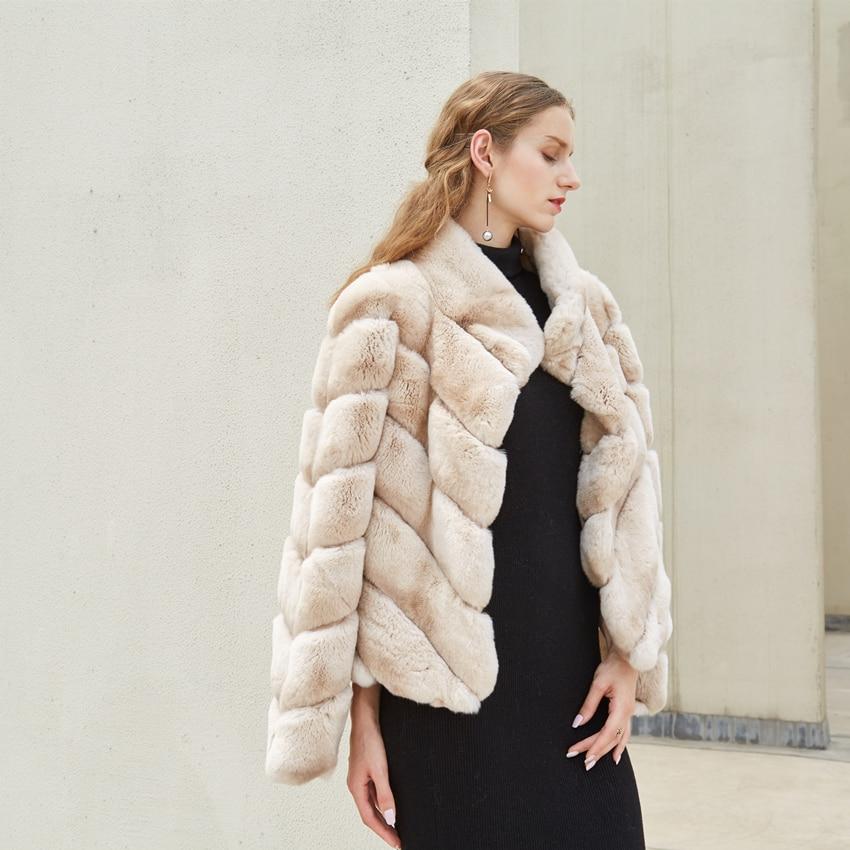 Fino casaco de pele de coelho rex verdadeira pele de coelho jaqueta casaco curto para as mulheres de cor bege gola de pele real
