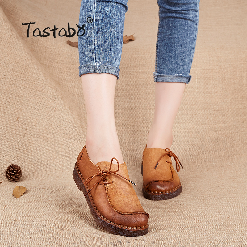 Tastabo Handmade vintage women shoes genuine leather female moccasins loafers soft Comfortable casual shoes flats Plus Size цены онлайн