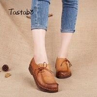 Tastabo Handmade rocznika kobiet buty kobiet prawdziwej skóry mokasyny mokasyny miękkie Wygodne przypadkowi buty mieszkania Plus Size