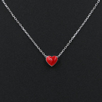 Oil Drop Enamel Lovely Small Red Heart Pendant Necklace Genuine 925 Sterling Silver Link Chain Chokers
