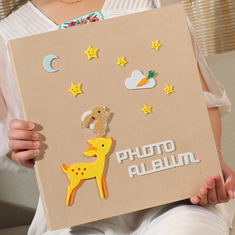 All 5 inch 600 photos big capacity insert photo album family baby growth commemorative felt paste