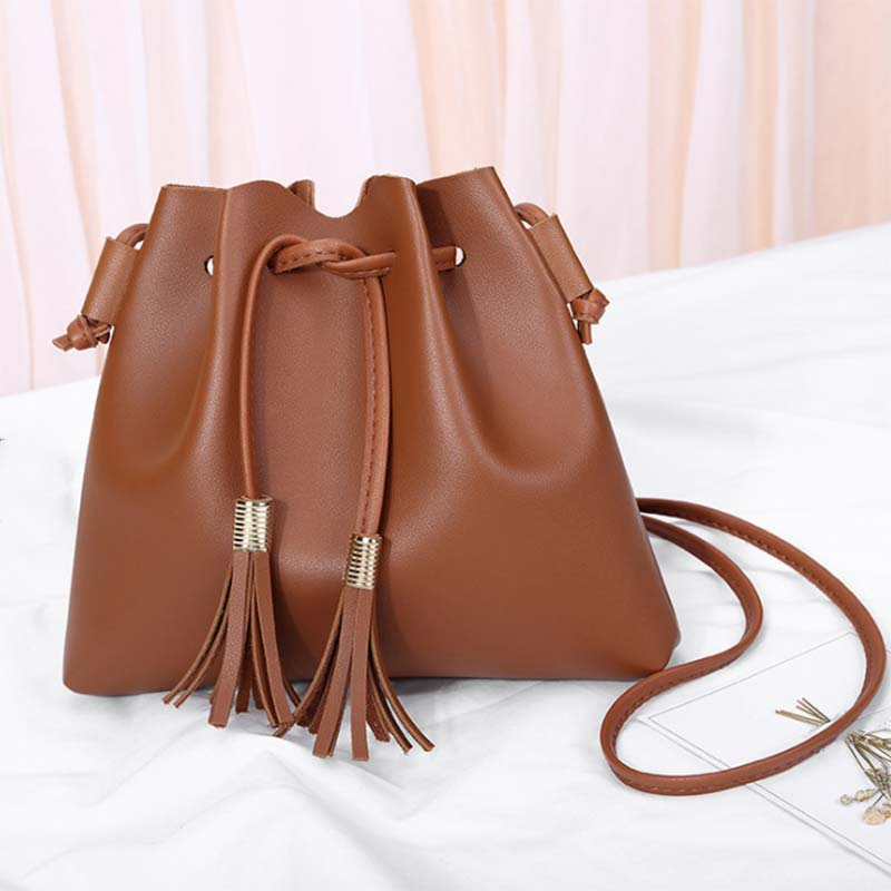 Women Messenger Bag PU Leather Solid Color Tassel Bucket Handbags Lady Casual Crossbody Shoulder Bags MUG88