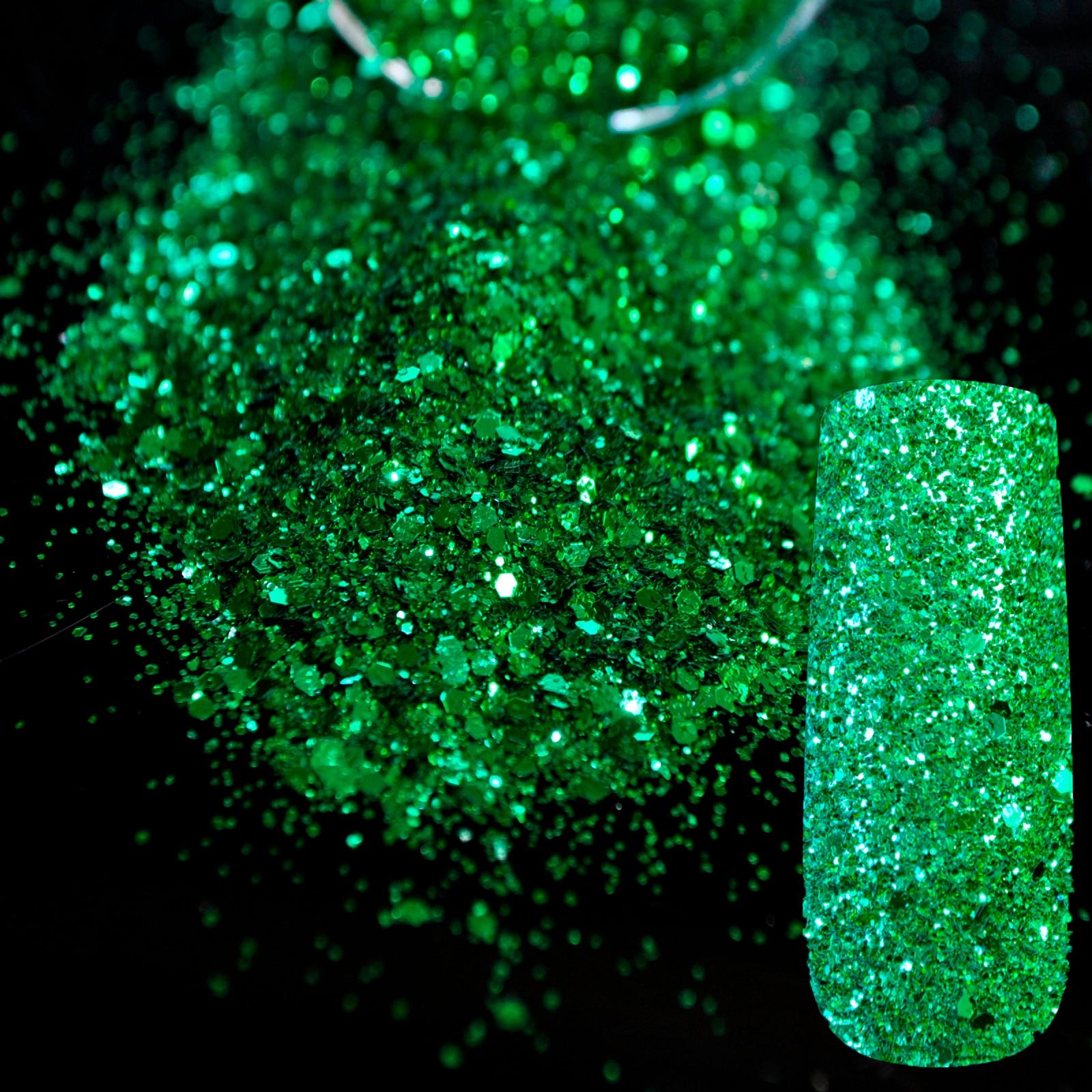 ᐅTamaño de la mezcla verde 3D Glitter nail hexagonal Sábanas Polvos ...