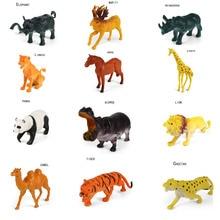 12pcs 3D Cartoon Animal PVC Action Figures Toys Panda Horse Lion Camel Rhinoceros Hippo Giraffe Tiger Wild Animal doll toys