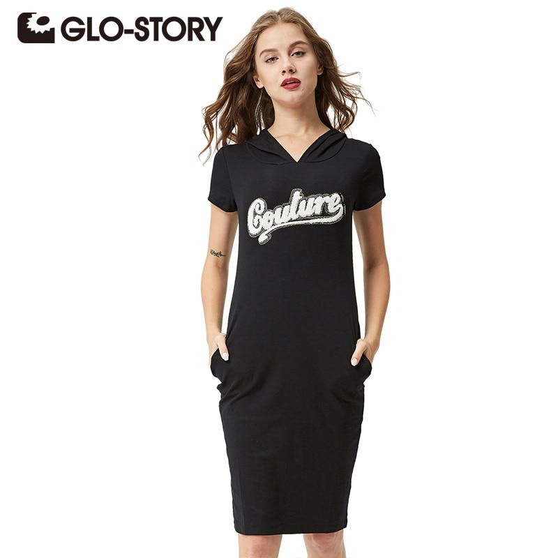 GLO-STORY Dames 2018 Casual kort MouwStreetwear Gebreid T-shirt Hooded Jurk met Zak en Letter Geborduurd WYQ-1800