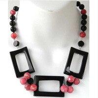 New Arriver Handmade Black Agate,Pink Rhodonite Gem Stone Necklace
