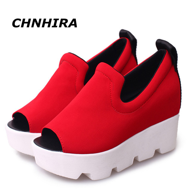 2016 Summer Wedge Thick High Heel Letter Open Toe Slip On Women's Shoe Woman Platform simple Sandals#HR647 nayiduyun women genuine leather wedge high heel pumps platform creepers round toe slip on casual shoes boots wedge sneakers