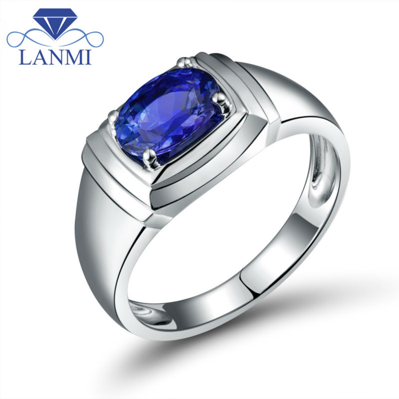 fashion 18kt white gold oval 6x8mm natural tanzanite wedding rings for men in wu0312achina - Tanzanite Wedding Rings