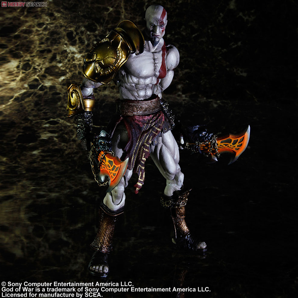 Play Arts Kai God of War III Kratos Action Figure god of war statue kratos ye bust kratos war cyclops scene avatar bloody scenes of melee full length portrait model toy wu843