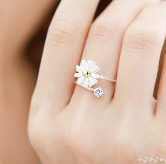 2015 Korean Design Flower Rings For Women Openings Adjustable Ring