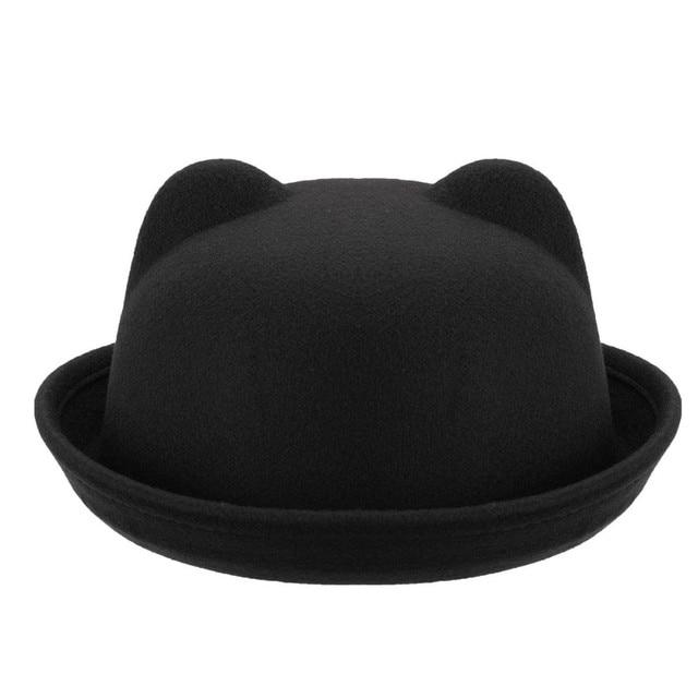 Fashion Children fashion hat Wool Girls Fedora Hat Devil Horns Cat ear  animal Bowler Derby Cute 7c7a00c87ba3