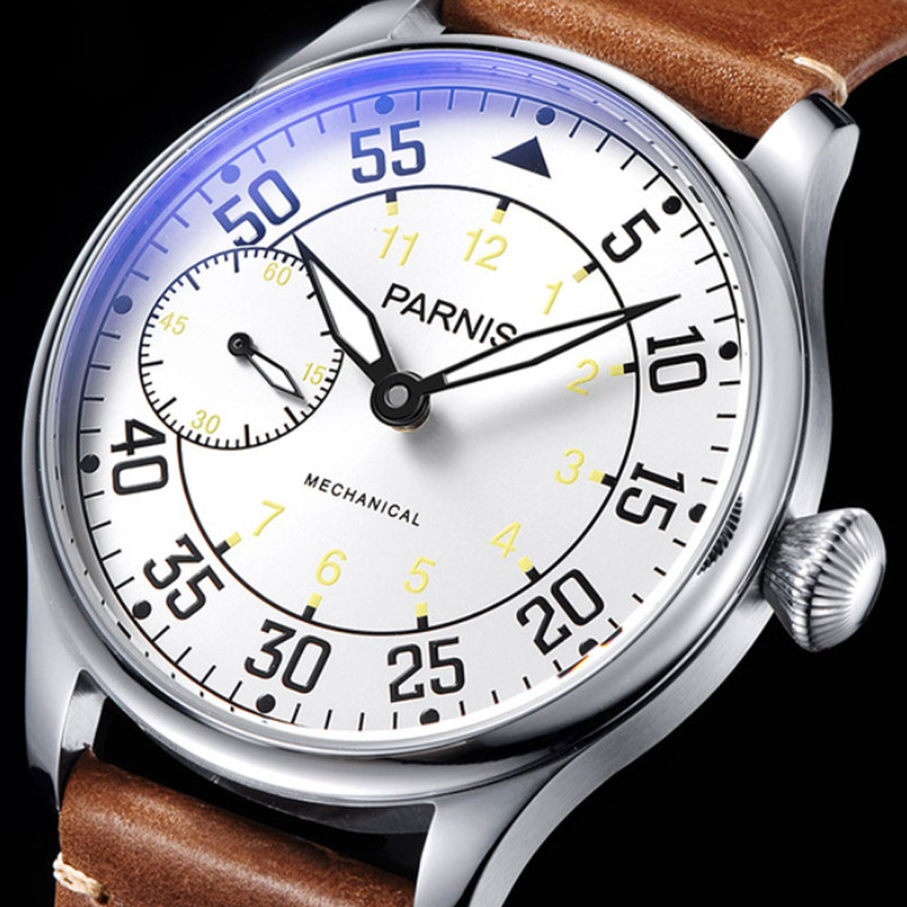 New Arrival Parnis 44mm Hand Winding Mechanical Mens Watches ST 6497 Mechanical Watch Men Waterproof Leather Top Sale цена и фото